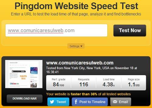 test velocità di caricamento pagine web